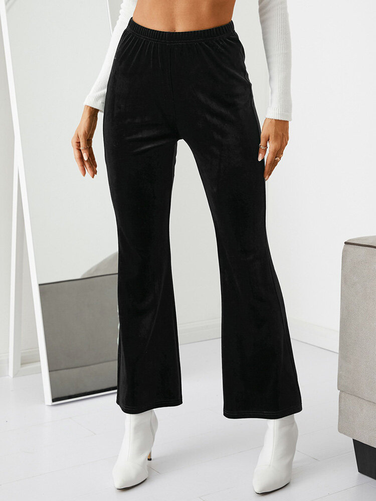 Solid Color Elastic Waist Flared Casual Pants For Women