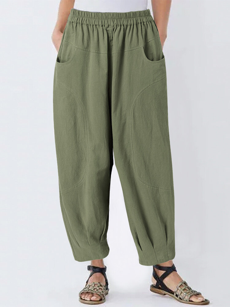 Solid Color Loose Casual Plus Size Harem Pants with Pockets