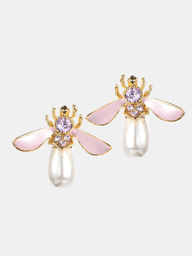 Cute Bees Stud Earrings Luxury Gold Plated Gemstone Pearl Earrings Jewelry for Women