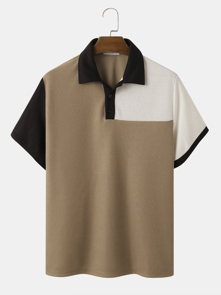 Mens Contrasting Color Patchwork Knitted Short Sleeve Golf Shirt