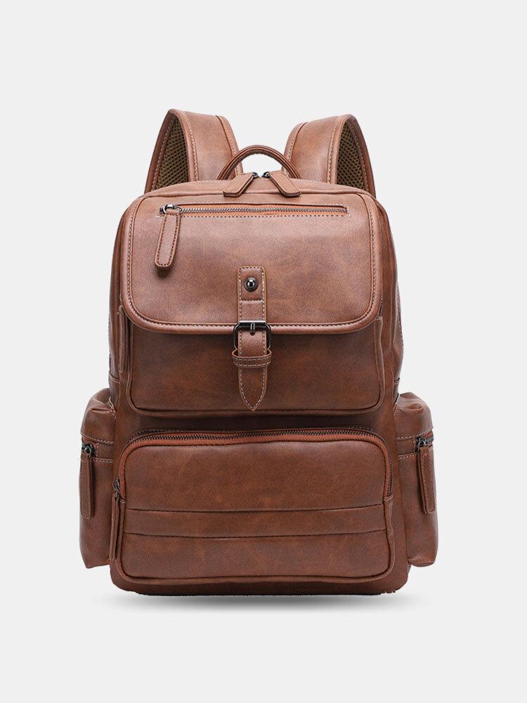 Men Vintage PU Leather Large Capacity Multi-pocket 14 Inch Lapto Bag Backpack