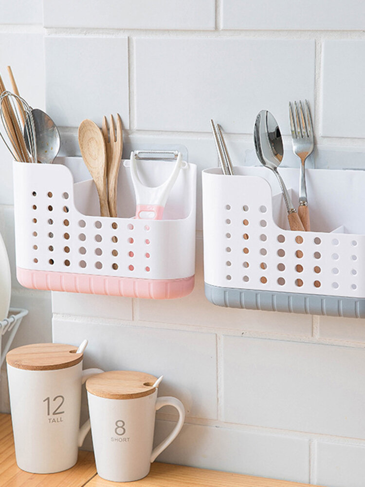 Kitchen Drying Holder Tray Wall Mounted Spoon Chopsticks Draining Storage Rack Nail-Free Paste Drainable Chopsticks Cage