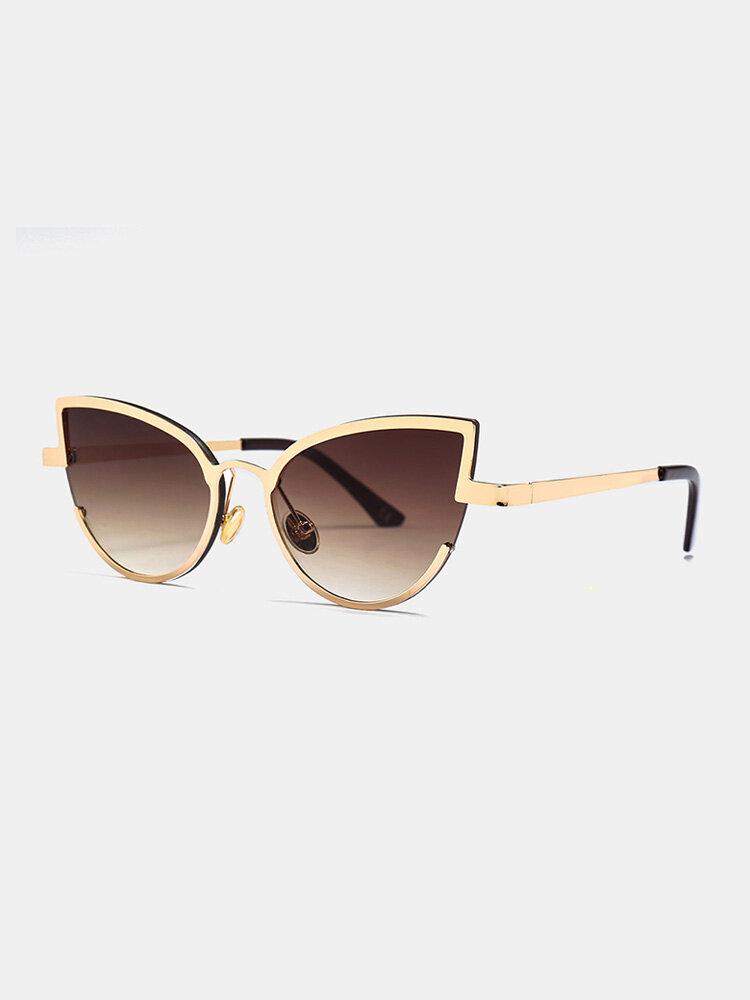 Unisex Metal Cat-eye Small Frame Colorful Lens Anti-UV Sunglasses