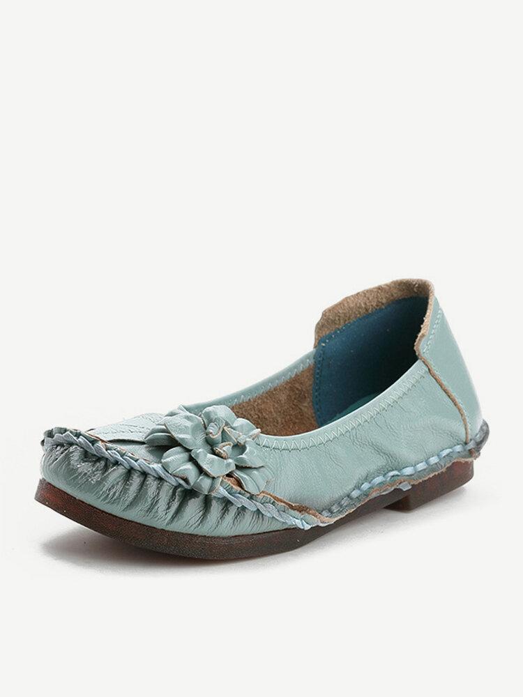Leather Round Toe Stitching Comfortable Slip On Vintage Flat Shoes