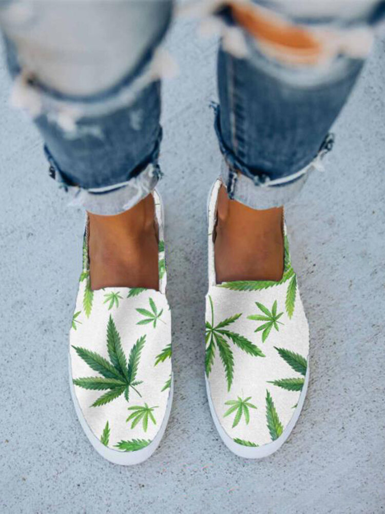 Women Refreshing Style Printing Leaf Pattern Slip-On Loafers Shoes
