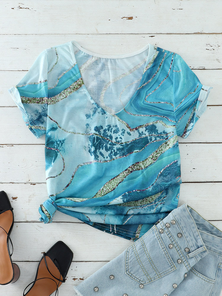 Vintage Print O-neck Short Sleeve Casual T-Shirt For Women