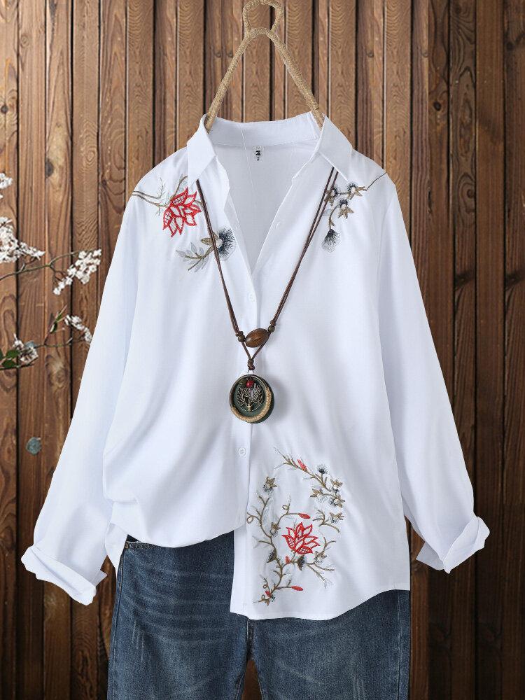 Botón con bordado de flores en la parte delantera Plus Talla manga larga Camisa