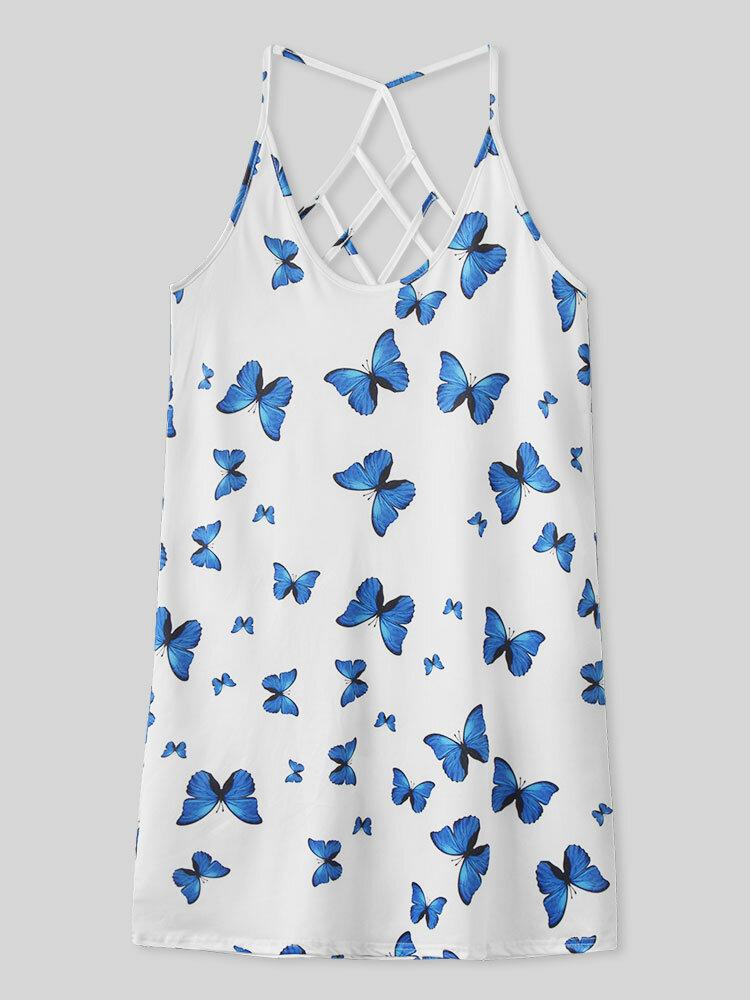 Butterflies Print Backless Sleeveless Halter Women Sexy Dress