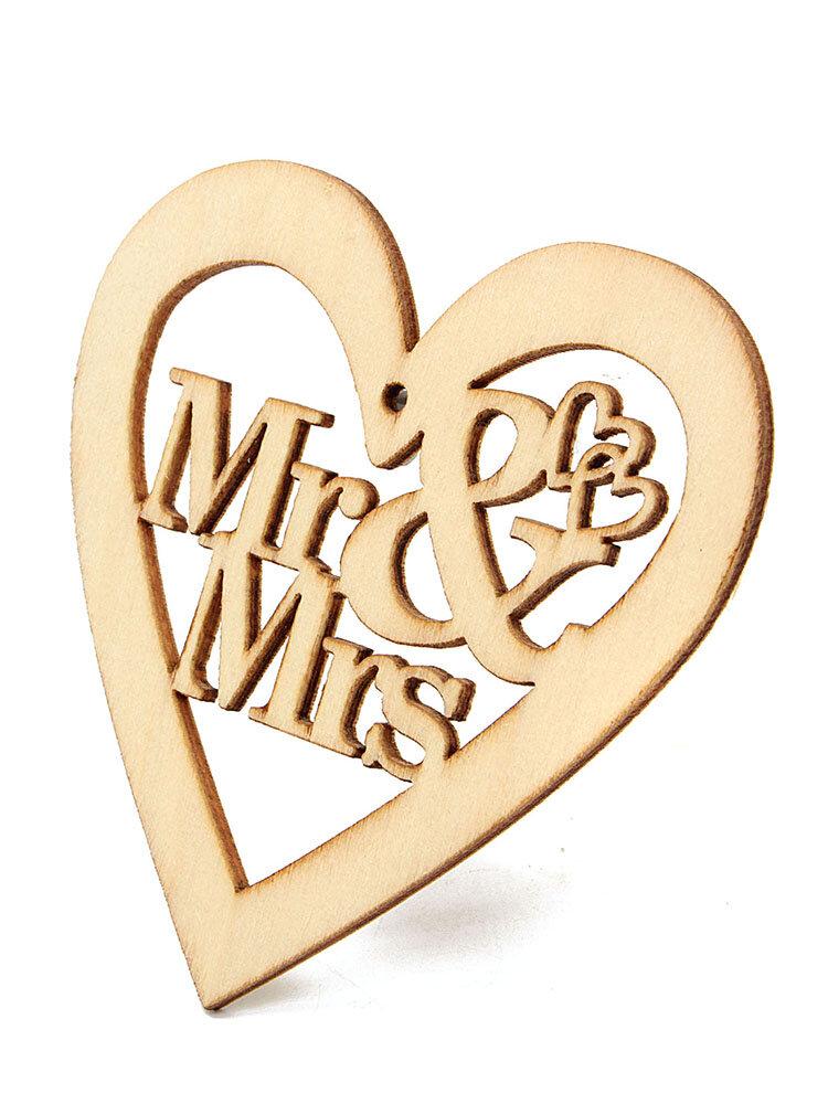 10pcs Natural Wooden Heart Laser Cut Shapes Craft Embellishments Wedding Favors