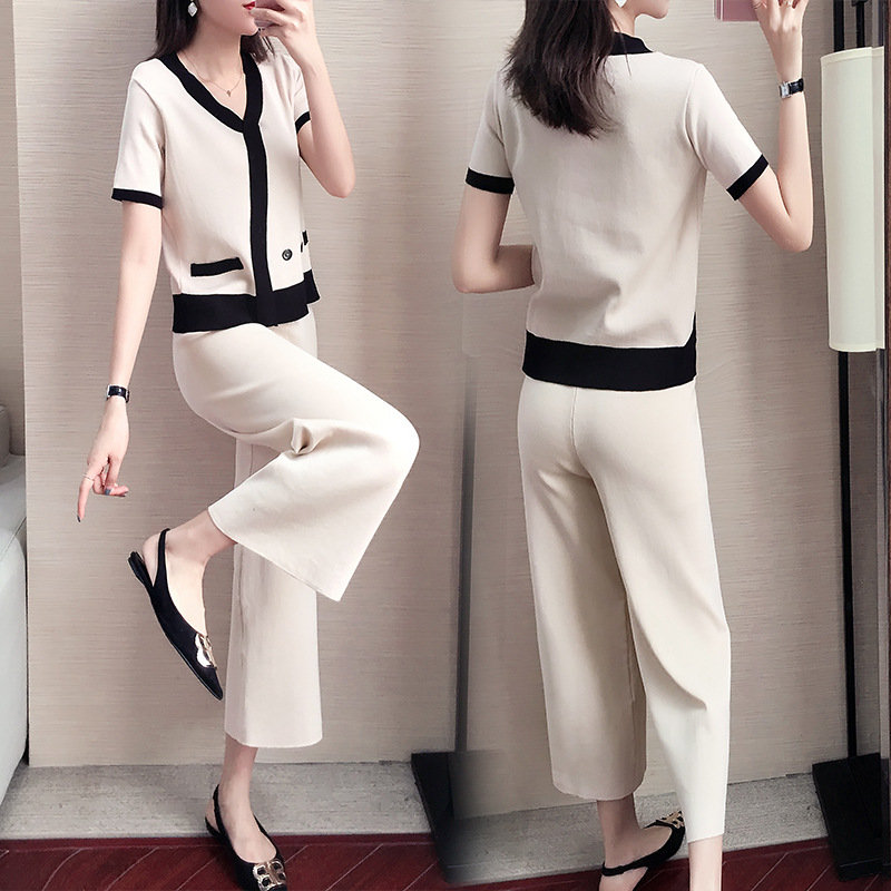 Knitted Casual Sportswear Suit Women's Two-piece V-neck