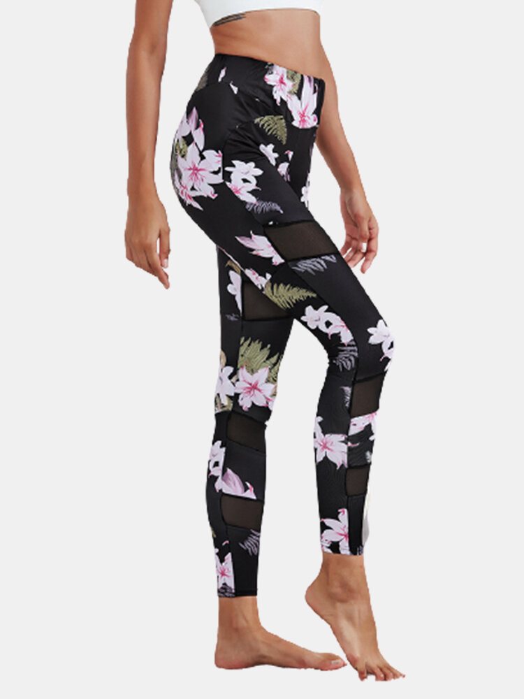 Floral Print Mesh Patchwork Sport Yoga Leggings for Women