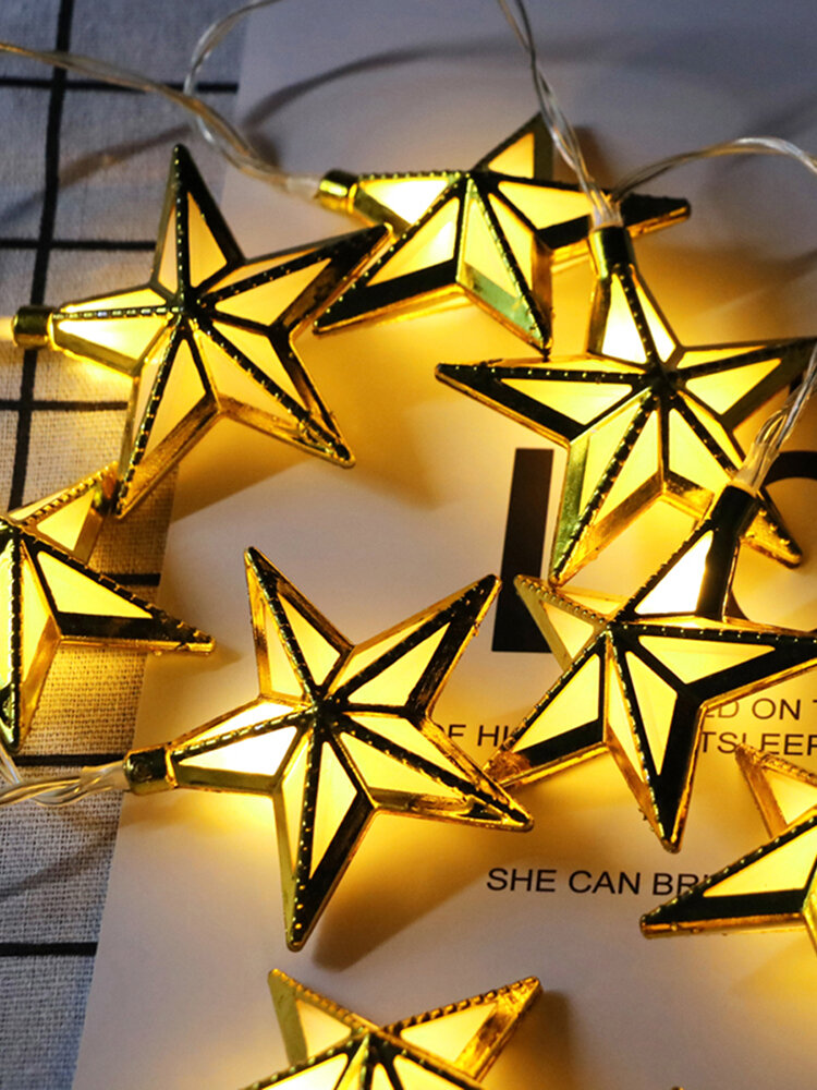 Ramadan Light Star Shape String Light Romantic Bling Colorful Hanging Light Gift for Home Decor