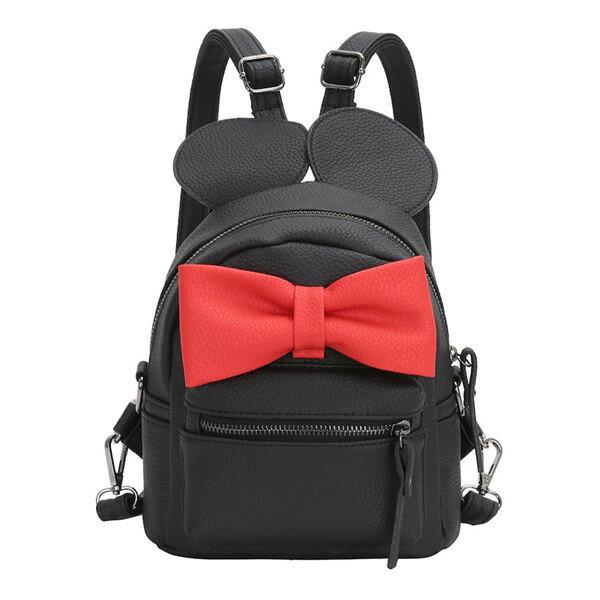 Women Cute Shape Contrast Bow Tie Embellished Backpack Multi-function Crossbody Bag
