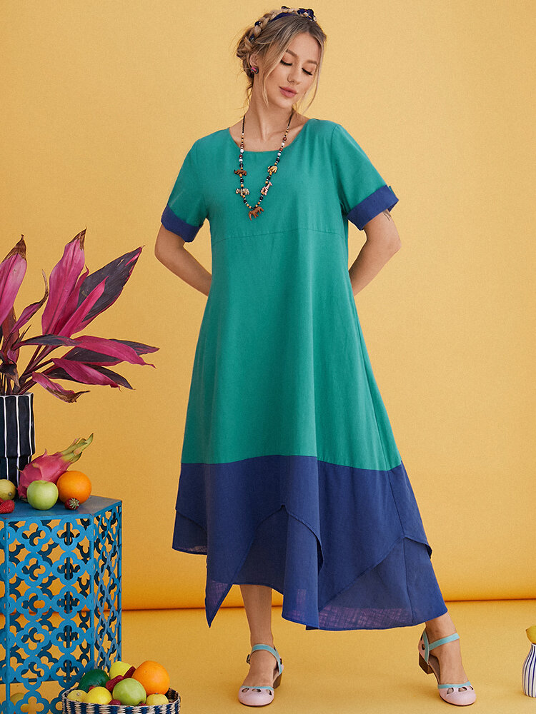 Double Layers Patchwork O-neck Casual Cotton Dresses