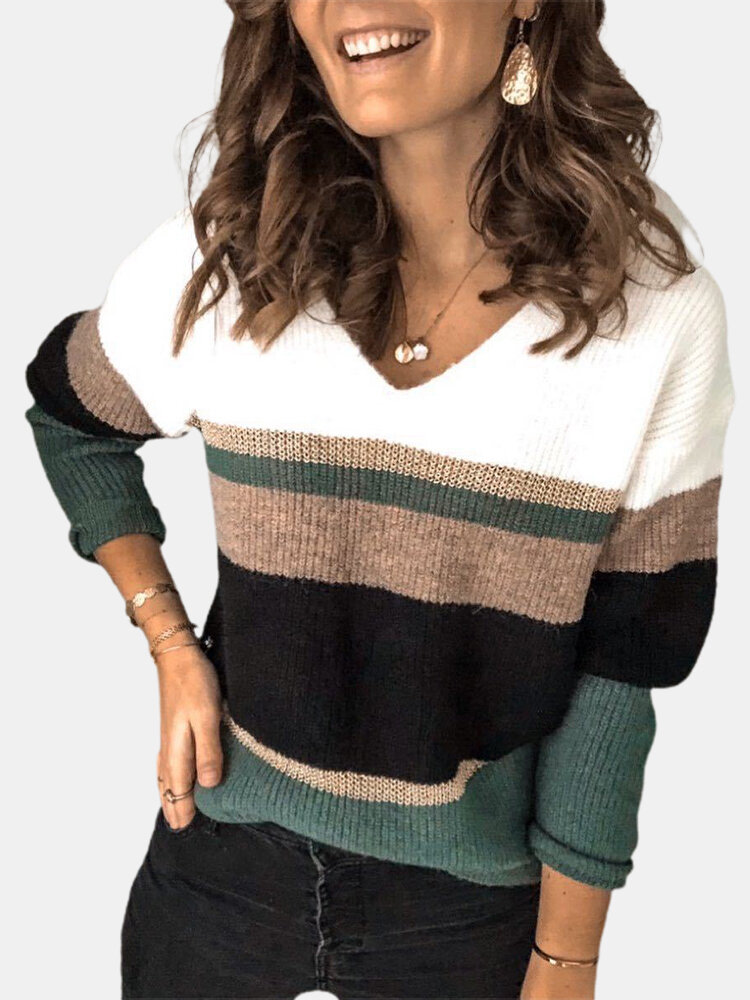 V-neck Contrast Color Long Sleeve Casual Sweater For Women