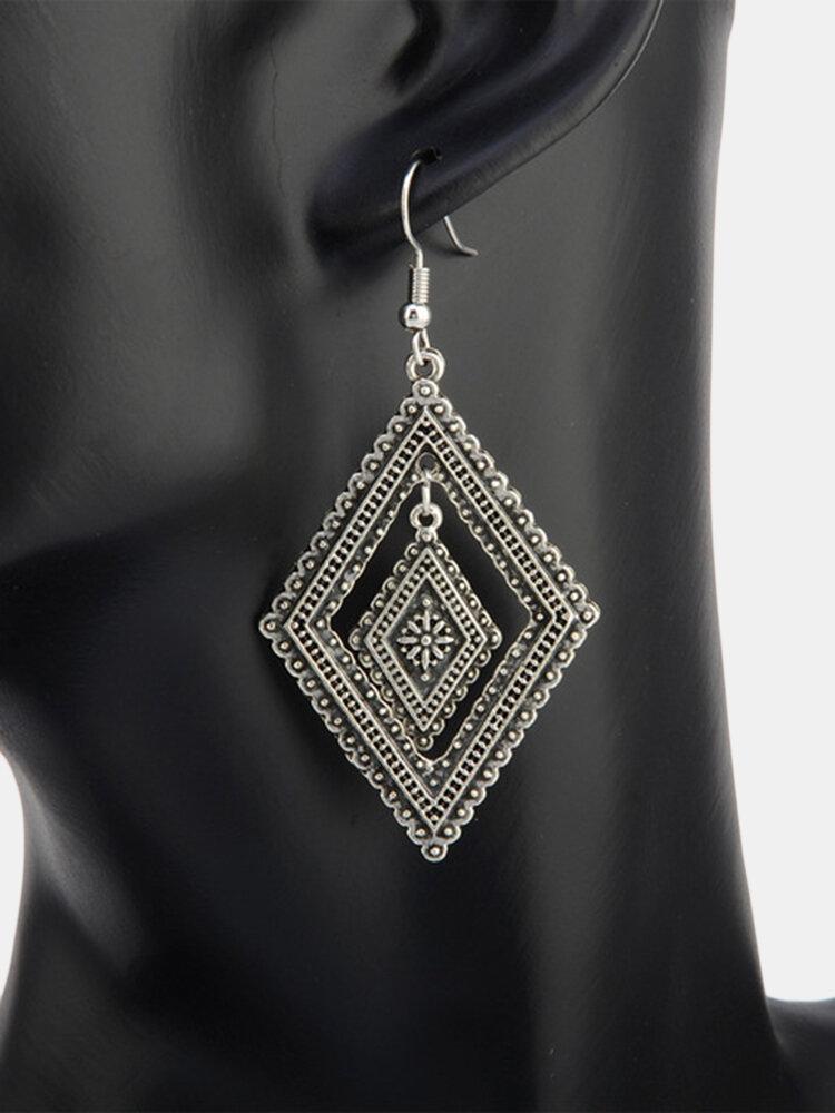 Vintage Geometric Hollow Diamond Pendant Earrings Bohemian Long Earrings Chic Jewelry