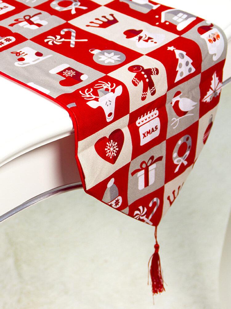 Creative European Cotton Linen Double Layer Christmas Table Flag Home Desk Decor Christmas Decoratio