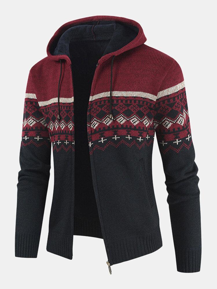 メンズエスニックスタイルニットウールジッパー巾着フード付きセーターカーディガン
