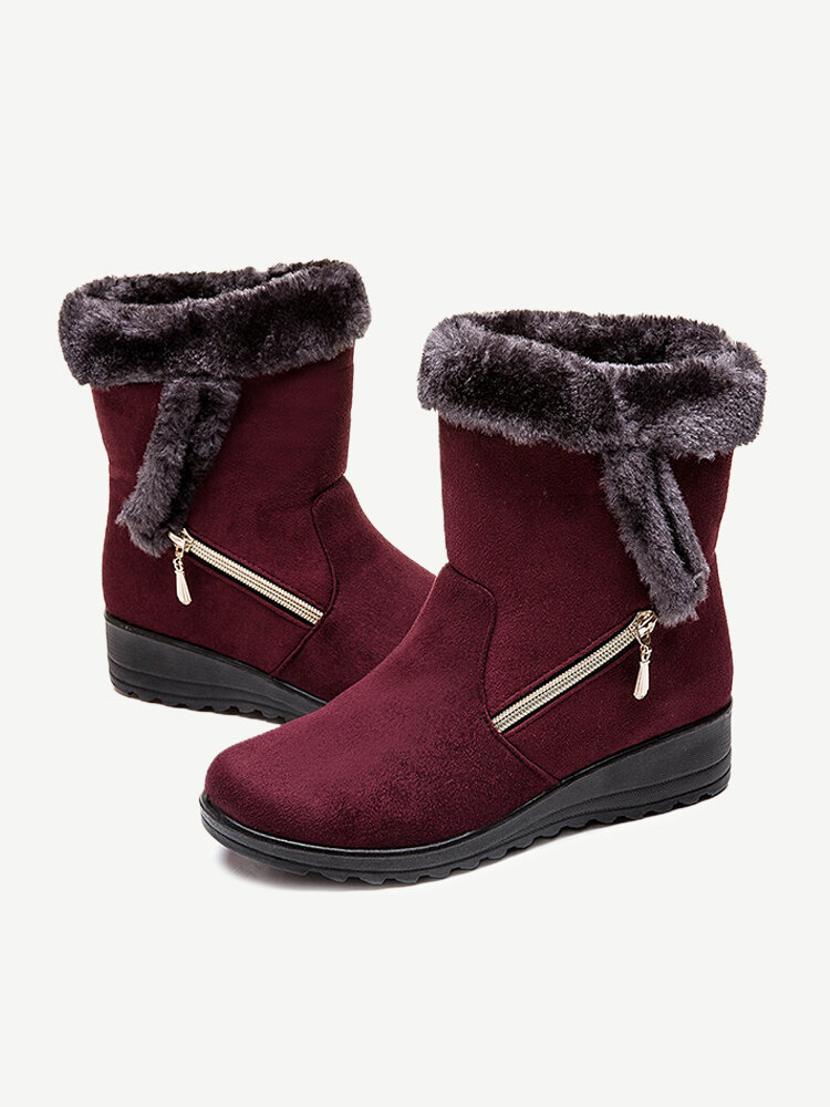 Suede Warm Lined Mid Calf Solid Color Wedges Winter Snow Boots