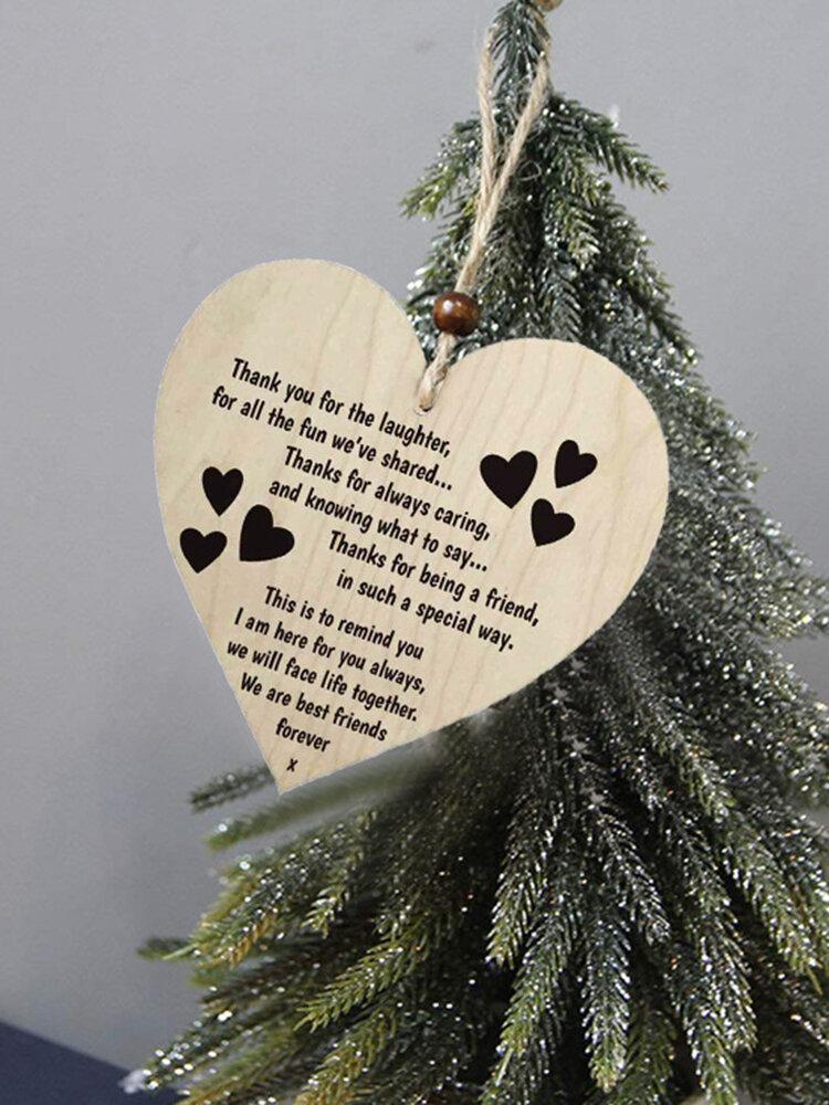 Placa de madeira para presente pendurada com chip de Natal de madeira Pingente Coração Decoração de garrafa de vinho em forma de etiquetas para casa