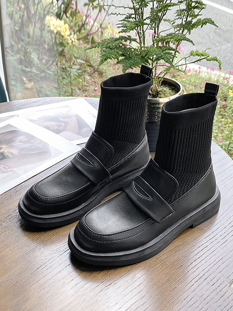 Women Casual Preppy Style Black Soft Comfy Sock Boots