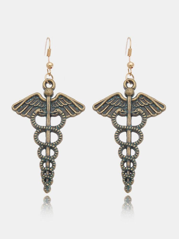 Vintage Blue Earrings Alloy Angel Magic Wand Earrings