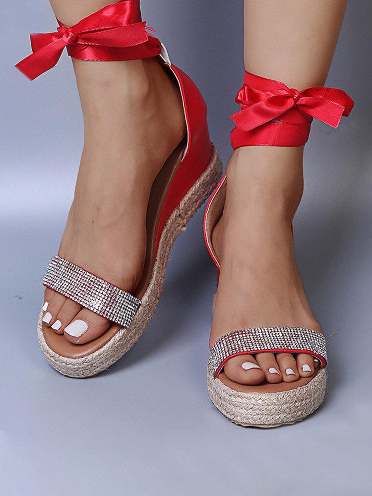 Large Size Women Casual Rhinestone Lace Up Sandals Espadrille Wedges