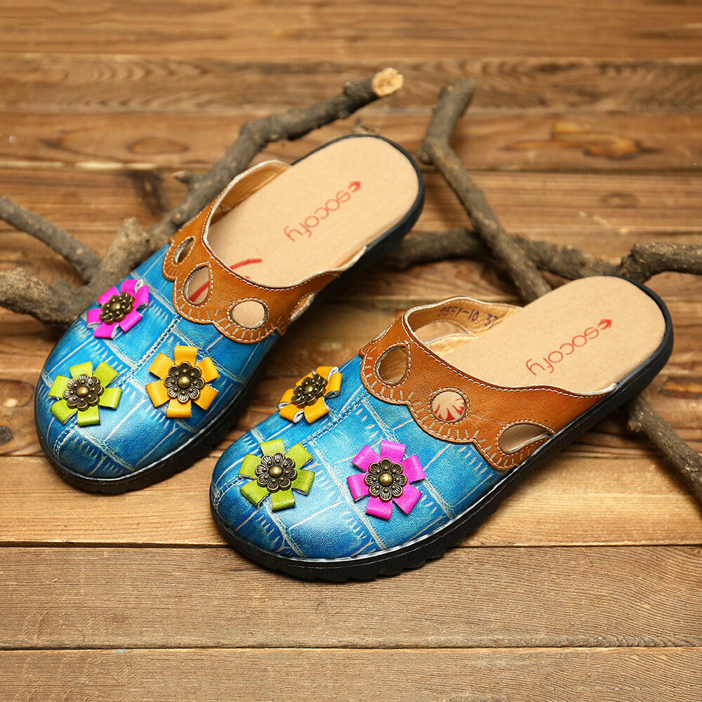 SOCOFY Hand Painted Retro Pattern Genuine Leather Splicing Colorful Floral Soft Daily Sandals