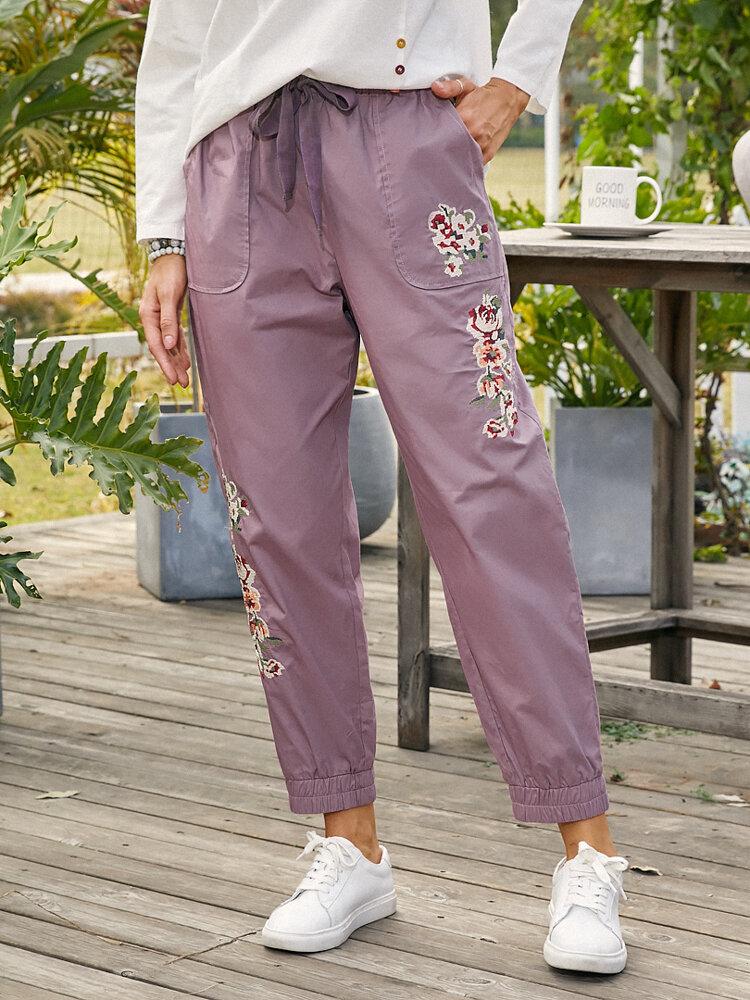 Floral Print Drawstring Pocket Elastic Waist Long Casual Pants for Women