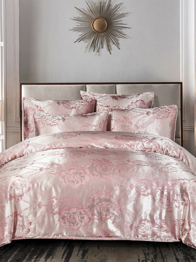 3Pcs Pink Floral Satin Bedding Set Home Bedroom Soft Duvet Cover Pillowcases Full Queen King Size