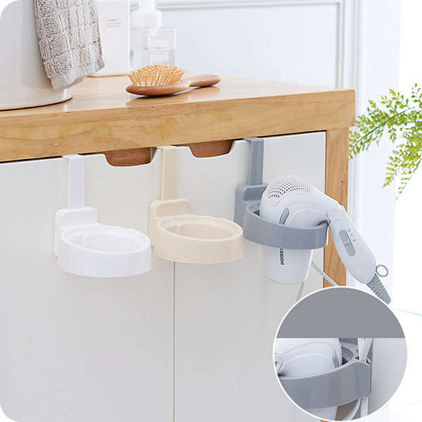 Hook Type Free of Punch Hair Dryer Holder Rack Storage Tail With Plug Hook Bathroom Supplies