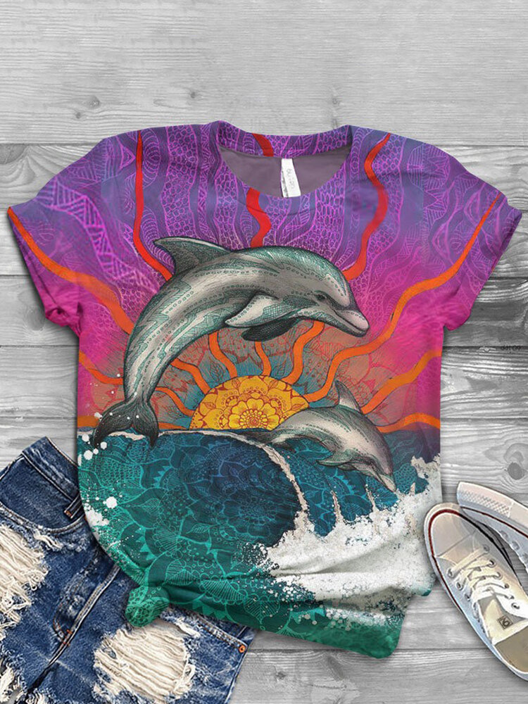 Animals Print O-neck Short Sleeve Plus Size Casual T-shirt for Women