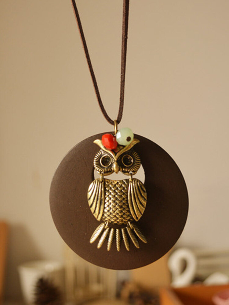Vintage Ethnic Owl Decorated Round-shape Wood Chip Resin Alloy Buckskin Rope Long Sweater Necklace