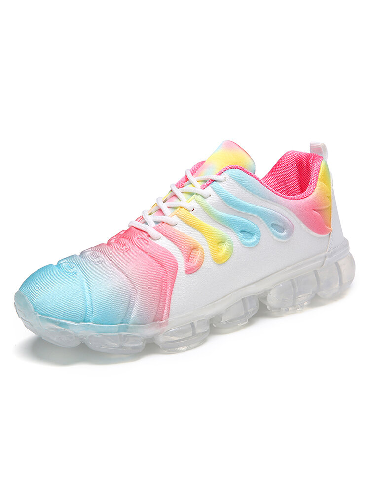 Women Large Size Multi-color Lace Up Front Cushioned Sneakers