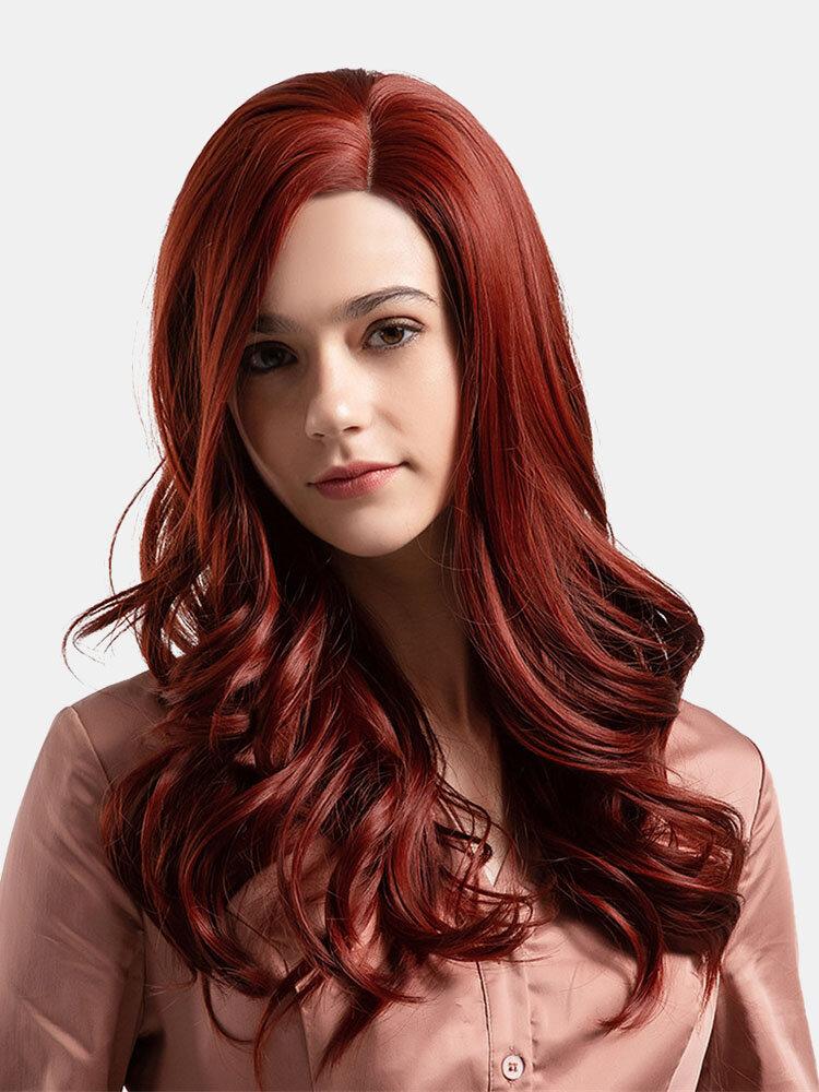 22 Zoll Synthetische Perücken Mode Persönlichkeit Rot Langes lockiges Haar Perücken Hochtemperaturdraht Perücken