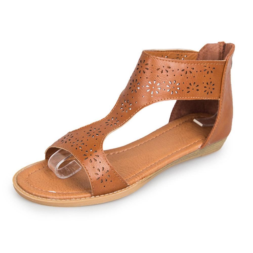 Extra Size Flower Hollow Peep Toe Flat Sandals