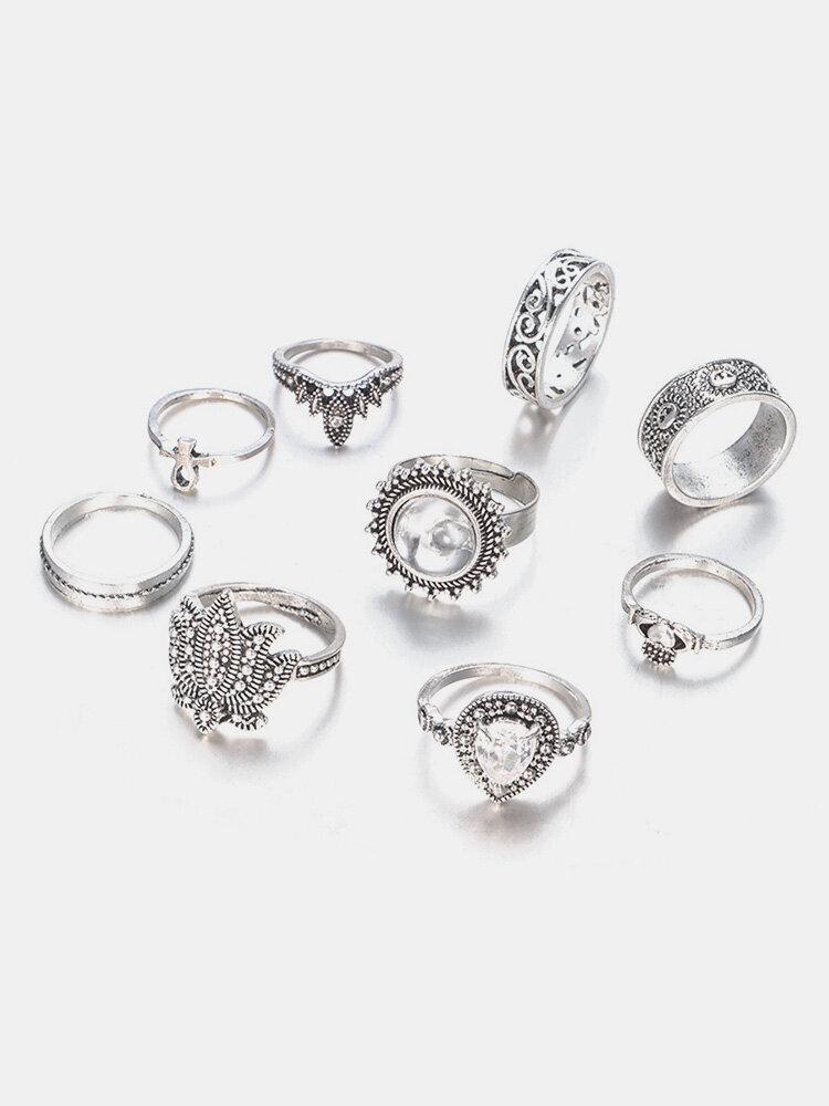 9 Pcs Bohemian Statement Ring Sets Vintage Geometric Sun Stars Crown Flower Knuckle Rings for Women