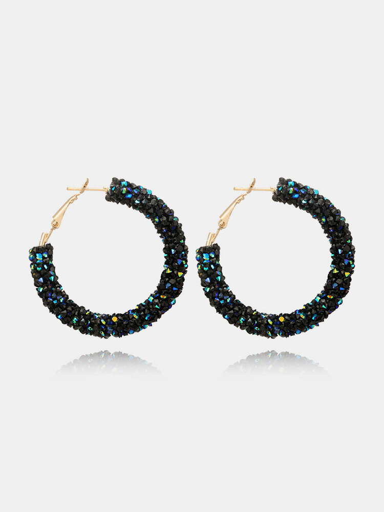 Shining Crystal Big Hoop Earrings Punk Statement Full Crystal Paved Earrings Party Jewelry for Women