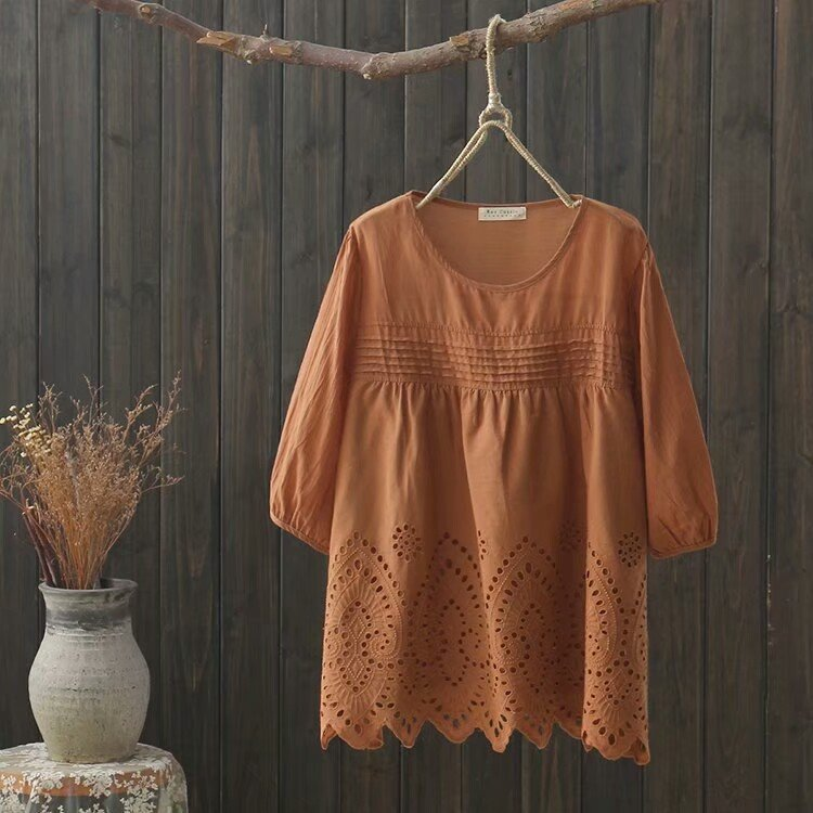 Floral Lace  Embroidery  Half Sleeve Blouse For Women