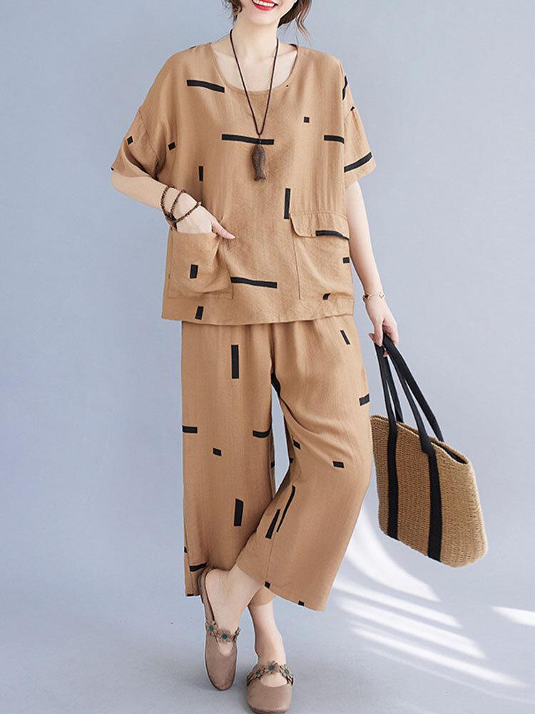 Printed Flap Pocket Tee & Elastic Waist Pants Two-piece Suit