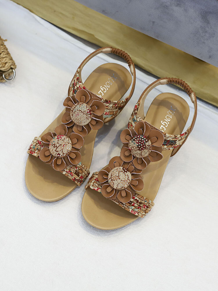 Women Summer Flowers Decor Comfy Wearable Elastic Slip On Casual Wedges Sandals