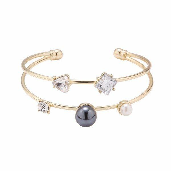 Balancing Style Geometry Rhinestone Pearl Bracelet Alloy Double Layer Brecelet