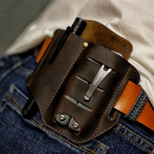 Men EDC Genuine Leather Wing Leather Holster Belt Bag Military Tactical Bag