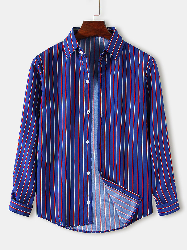 Mens Pinstripe Turn-Down Collar Loose Fit Light Casual Long Sleeve Shirts