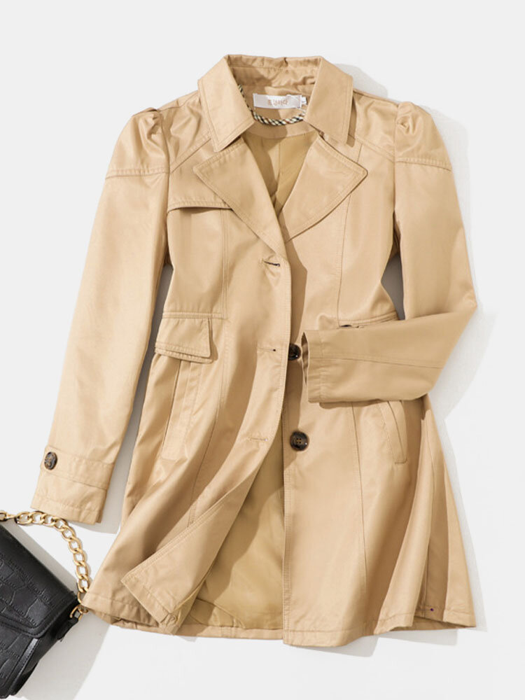Solid Pocket Lapel Long Sleeve Button Coat for Women