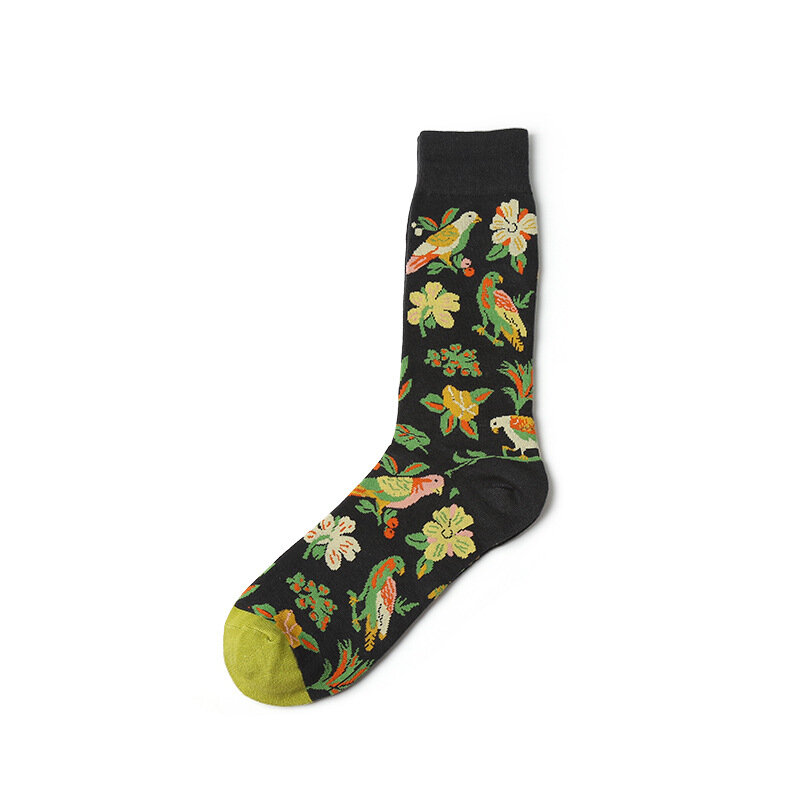 Mens Cotton Graffiti Personality Tube Socks Casual White Pigeon Bee Flowers Socks