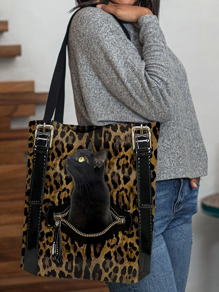 महिला तेंदुआ बिल्ली पैटर्न मुद्रण हैंडबैग कंधे बैग ढोना