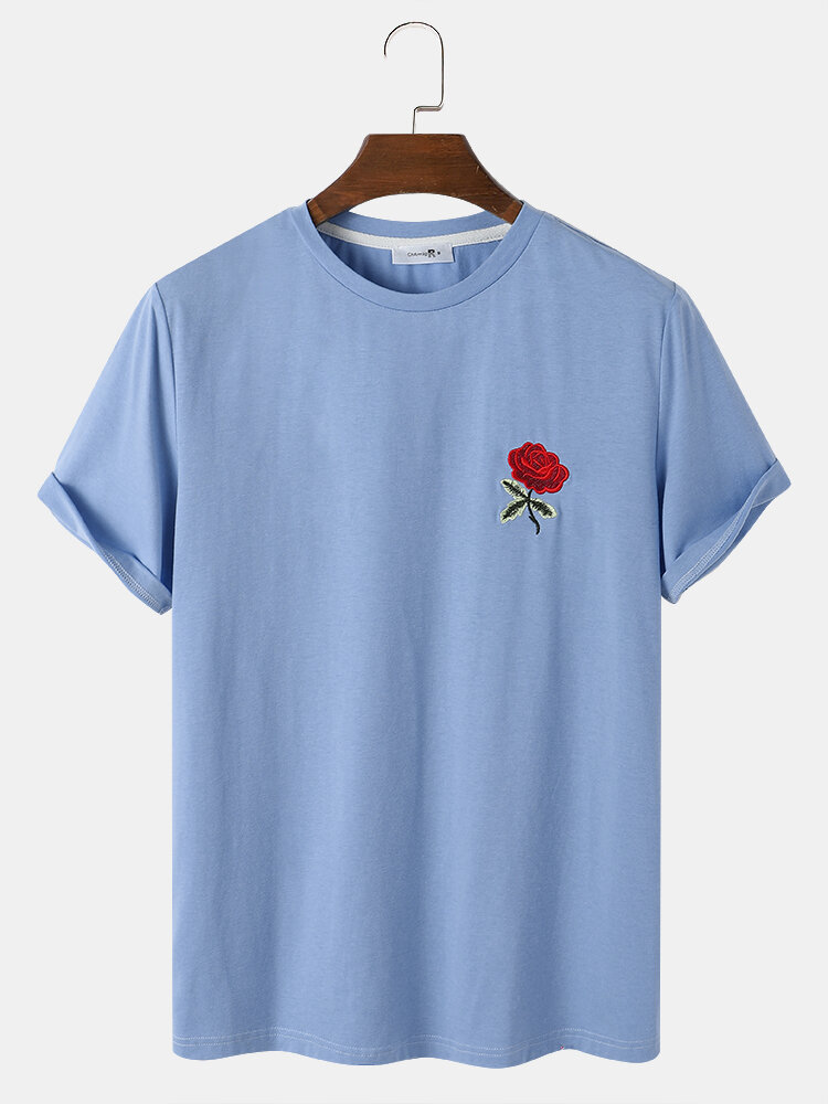 Mens Rose Embroidery Crew Neck Short Sleeve Casual Blue T-Shirt