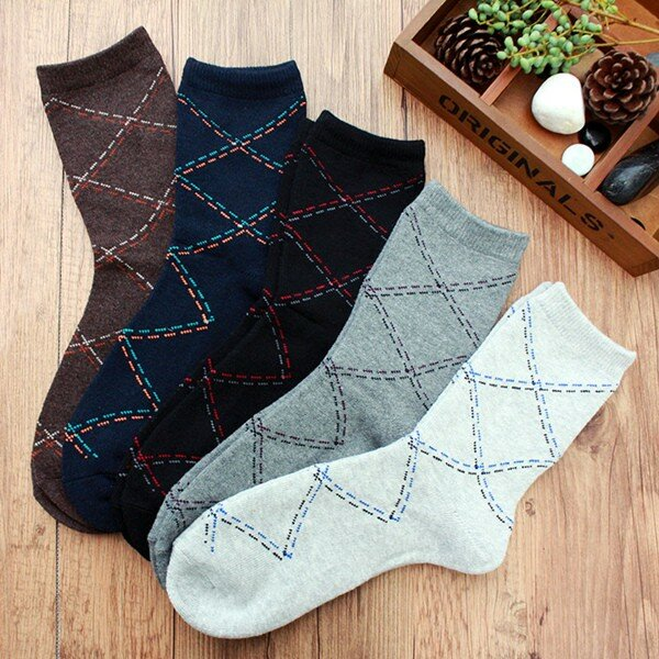 Men's Fall Winter Casual Business Rhombus Grid Comfortable Socks