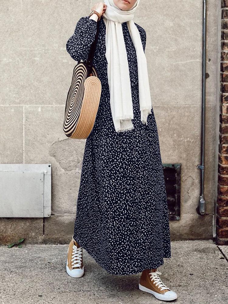 Bohenmia Print A-line Long Sleeve Casual Plus Size Dress